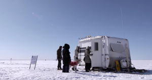 Ice Follies Screening Room on Frozen lake Nipissing 2014