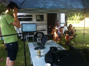 Ben Leggett and some festival musicians recording live tracks for River & Sky: The Game.