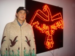 Duane Linklater @ his opening of Journey Through, 2011, White Water Gallery.